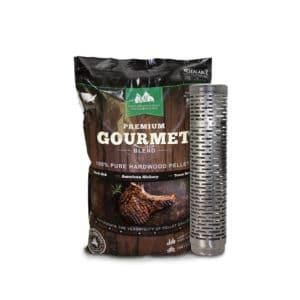 Thin Blue Smoker Tube next to GMG Gourmet Wood Pellets