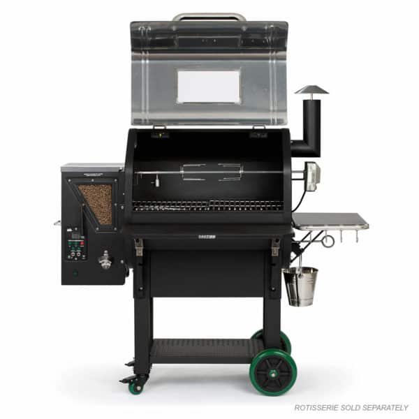 Daniel Boone Prime Plus Stainless with hood open and rotisserie (not included)