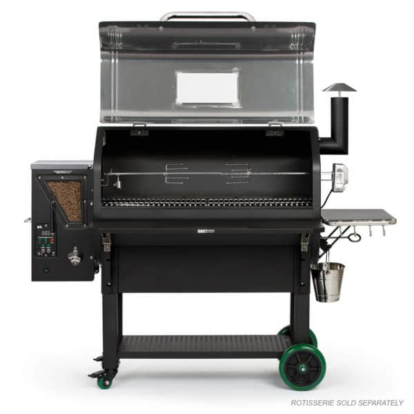 Jim Bowie Prime Plus Stainless with the hood open and the rotisserie (not included)