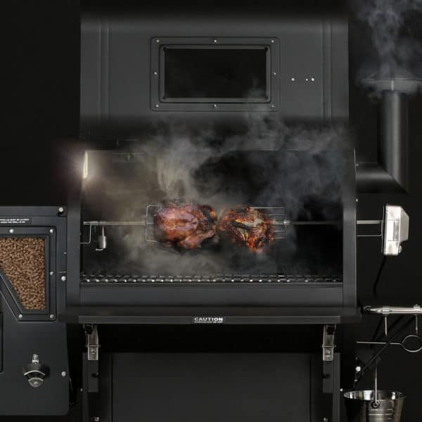 GMG Rotisserie Kit for Daniel Boone Prime Plus smoking a chicken